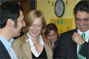 Cem Özdemir, Bundesvorsitzender der Grünen, Kerstin Andreae, MdB, und Dieter Salomon, OB Freiburg